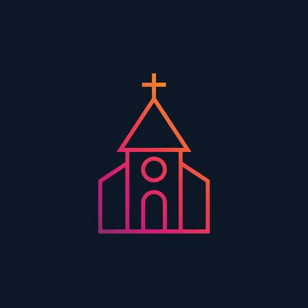 A church vector icon, linear style Illustration