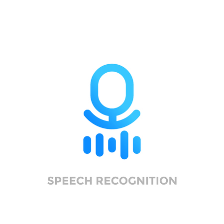 A speech recognition vector logo on white