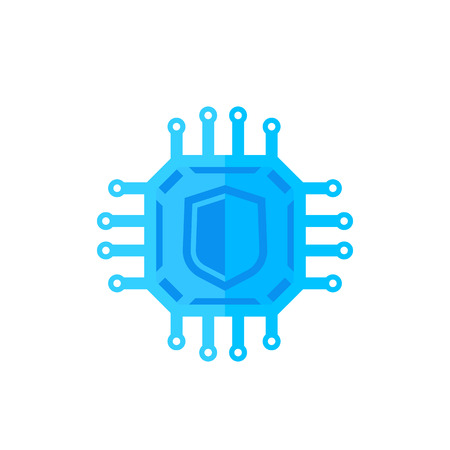 A cryptography, cyber security icon on white Illustration