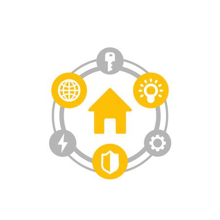 Smart house icon on white