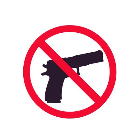 Una señal de no pistolas con silueta de pistola, sin vector de disparo Ilustración de vector
