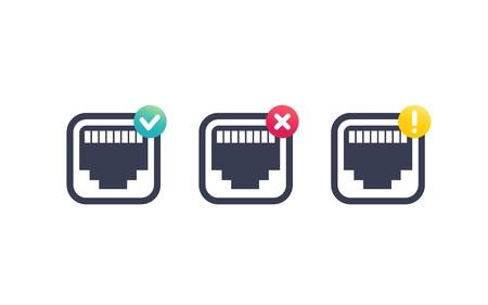 A ethernet, network port icons on white