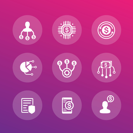 A finance management and financial instruments vector icons