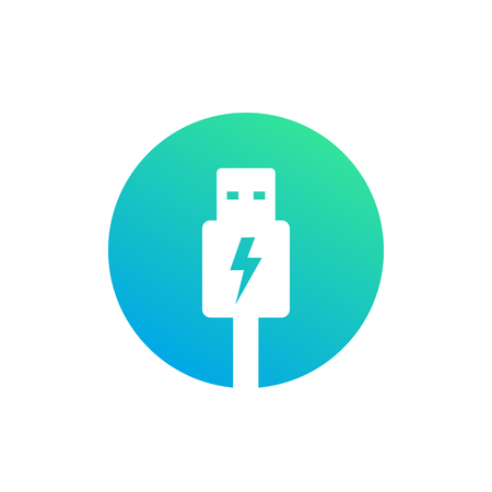 un icono de vector de enchufe de carga usb