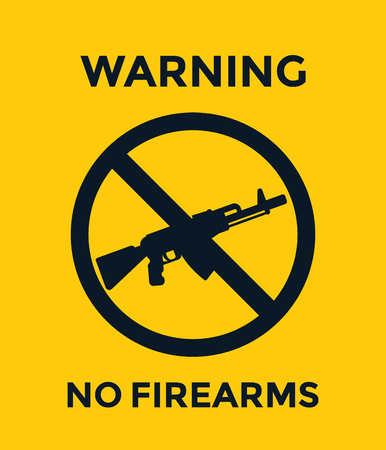 A no guns sign with automatic rifle, no firearms vector poster