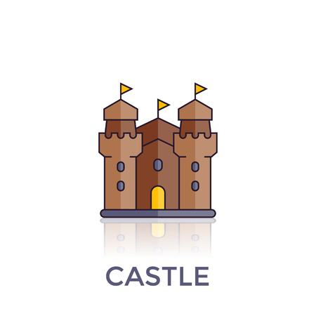 A castle, fortress vector icon on white