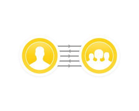délégation, coopération, illustration vectorielle de gestion