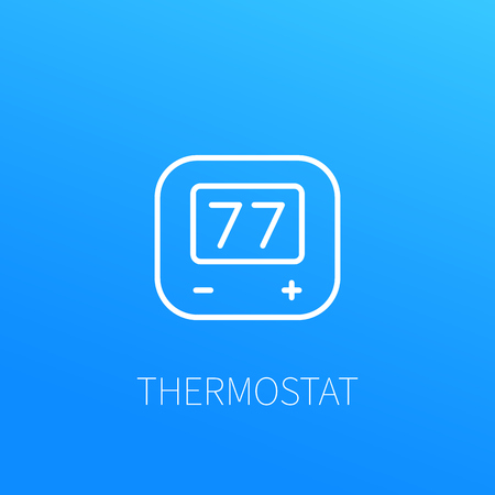 A thermostat line icon isolated on plain background Illustration