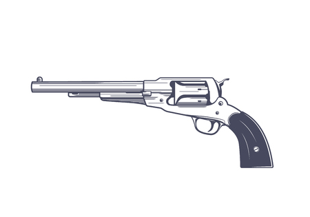 A old revolver, single-action, six-shot, percussion handgun vector illustration