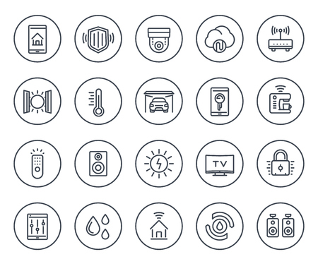 A smart house, home automation system line icons set on white