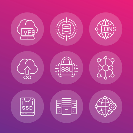 A hosting service and network solutions, servers linear icons set Illustration