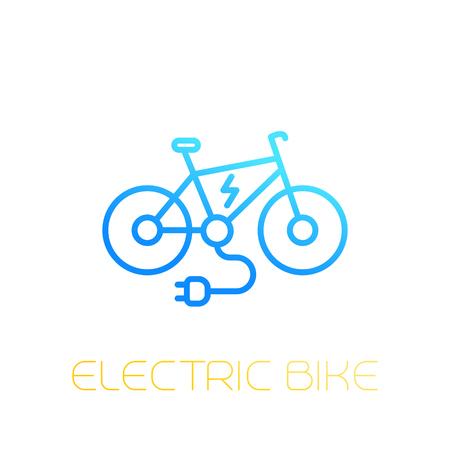 Electric bike icon, e-bike, linear on white Stock Vector - 97053435