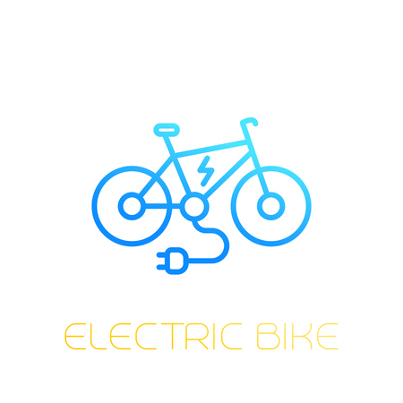 Electric bike icon, e-bike, linear on white