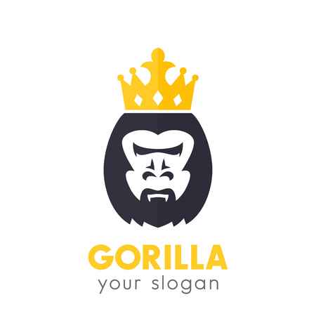 A gorilla king vector logo on white Vettoriali