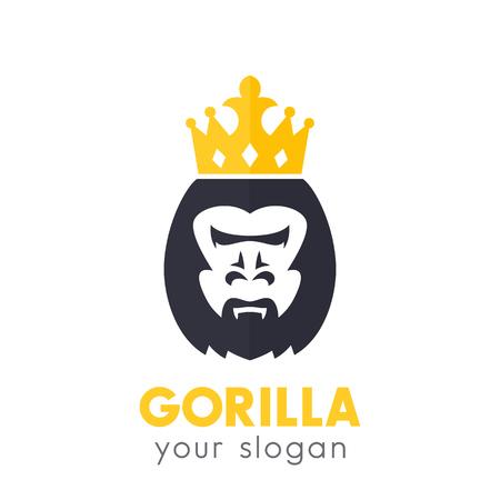 A gorilla king vector logo on white Vectores