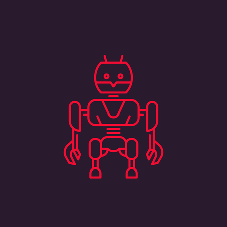 robot vector illustration, linear style