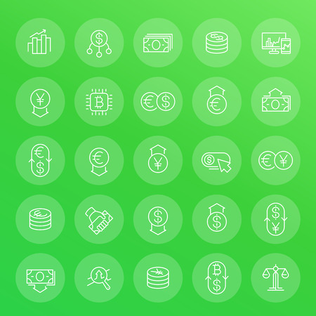 Currency, forex trading, financial operations, transactions, money exchange line icons set