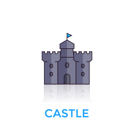 Castle, medieval fortress vector icon on white background. Stock fotó - 97664556
