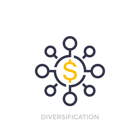 Financial diversification, diversified investment icon Illustration