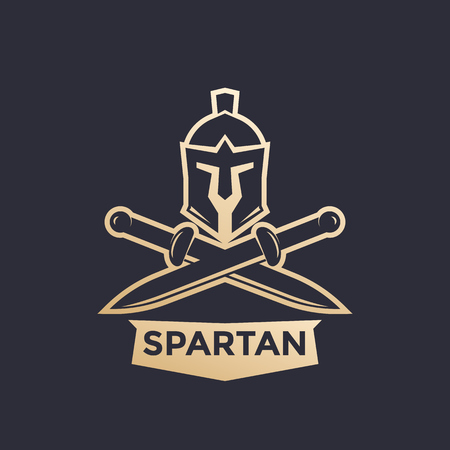 Spartan vector logo with helmet and swords