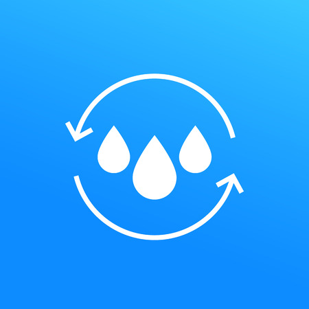 Water recycling icon Vector illustration isolated on blue background. Vectores