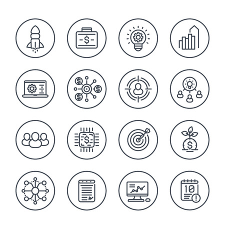 startup line icons set on white, product launch, project funding, initial capital, contract, ipo, target market, customers