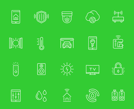 smart house, home automation system icons set, linear