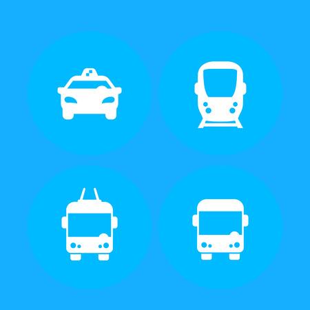 City transport, public transportation vector icons, taxi, subway, bus, trolleybus