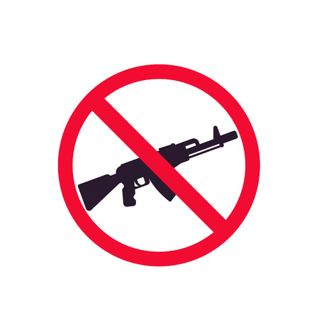 no guns sign with automatic rifle icon Vector illustration isolated on white background. Stock Illustratie