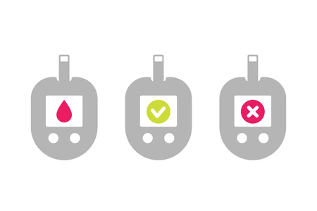 Glucose meter icons on white, blood sugar monitoring Vector illustration