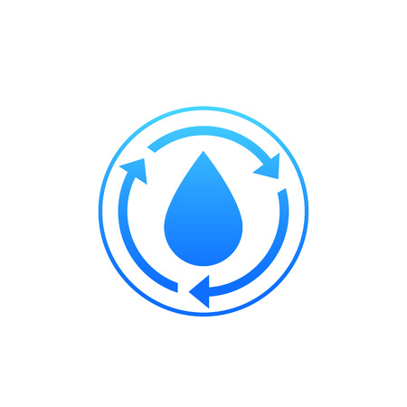 Water recycle icon on white