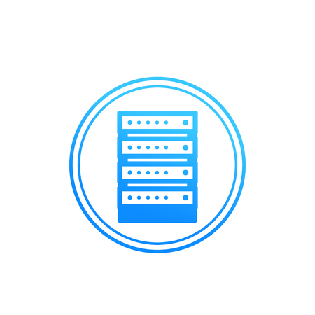 server icon in circle Vector illustration.