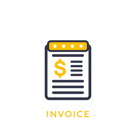 Invoice vector icon on white