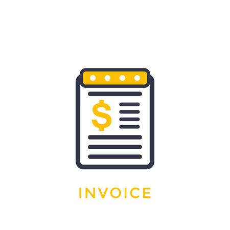 Invoice vector icon on white