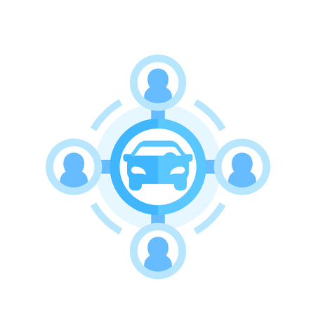 carsharing icon on white in flat style