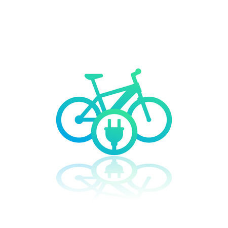Electric bike icon, charging station sign on white