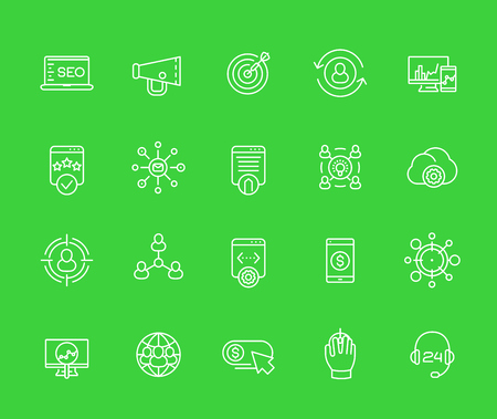 seo, internet marketing, website analysis and ranking line icons set