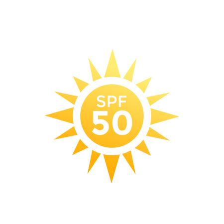 UV, sun protection SPF 50 vector icon on white