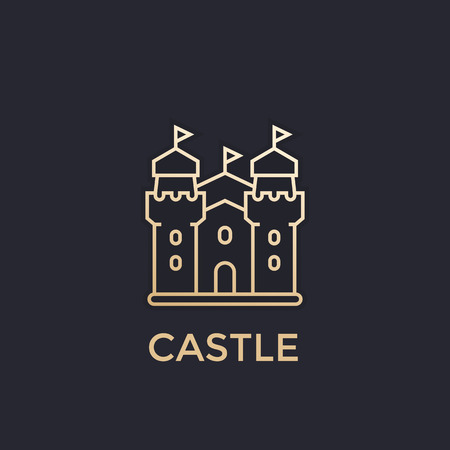 castle, fortress vector icon, gold, linear style