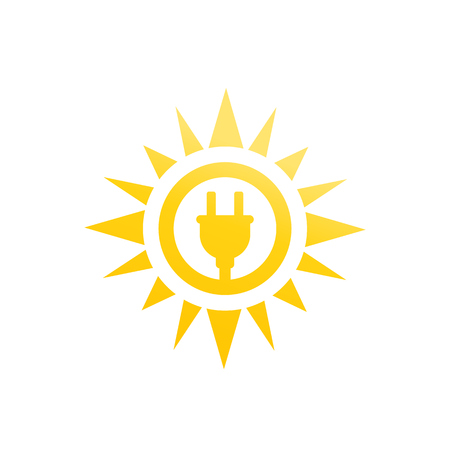 Solar energy vector icon on white