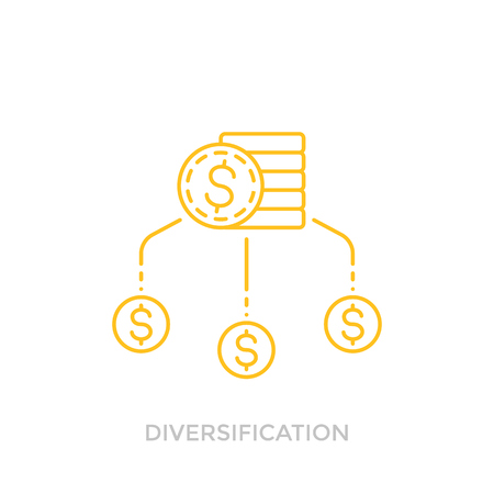 Financial diversification line icon with coins