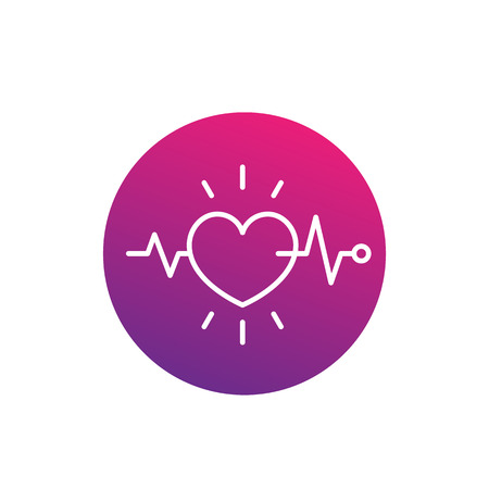 ecg, electrocardiography, heart diagnostics icon, linear style Illustration