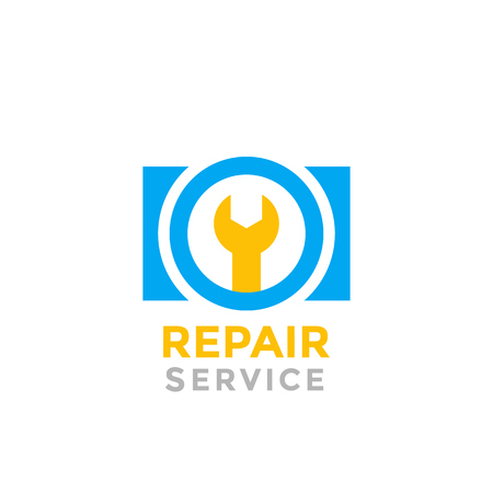camera repair service vector logo on white Stock Vector - 98945080