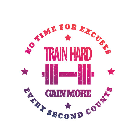 Train hard round emblem, gym print on white