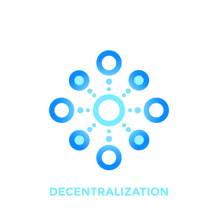 Decentralization vector icon, logo element on white Çizim