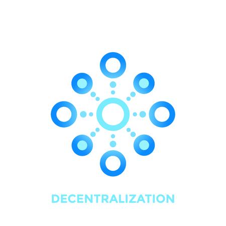 Decentralization vector icon, logo element on white Vettoriali