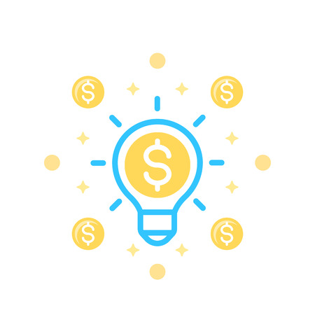 Idea is money icon on white background. Иллюстрация