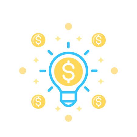 Idea is money icon on white background. Illustration