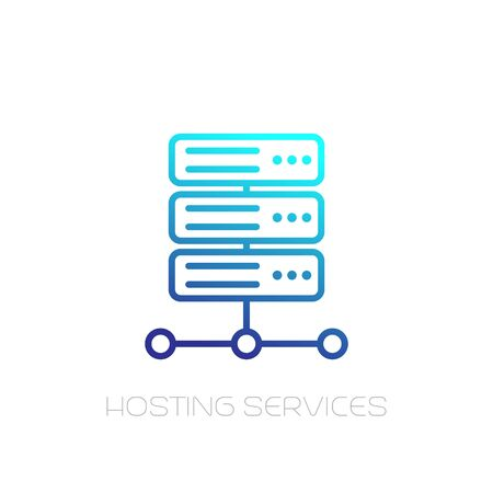 Server, hosting services line icon on white