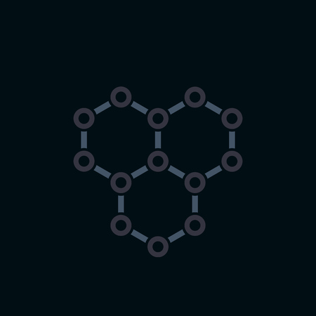 graphene icon, atomic carbon structure